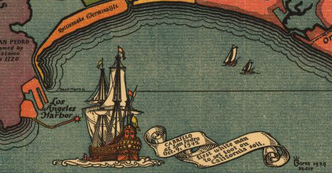 Cabrillo at San Pedro, Oct. 9, 1542. First white man to set foot on California soil.