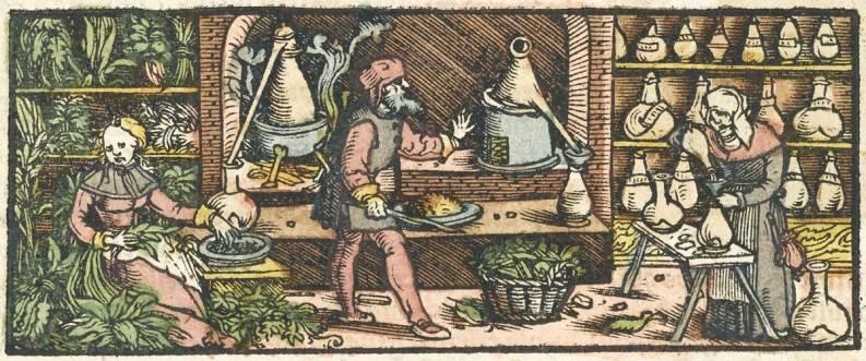 Distillazione delle essenze, XVI secolo (xilografia).