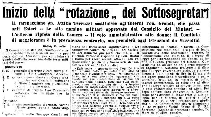 """""""Inizio della rotazione dei sottosegretari"""", da La Stampa, 14 maggio 1925"""