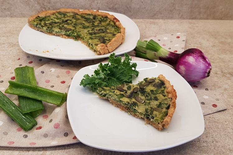 Quiche Keto de Kale y Cebolla Tierna
