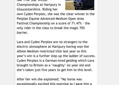 Cyden Dressage & Lara Dyson in the Press