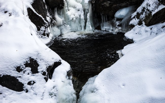 Frozen waterfall in Kent, Connecticut