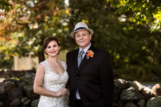 Bride and father photo at Bunnell Farm wedding in Litchfield