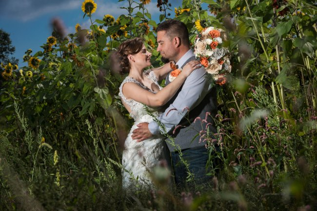 Litchfield wedding photo in sunflower field