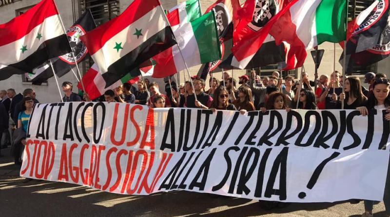 Risultati immagini per manifestazione pro siria contro gli usa
