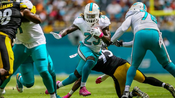 Dolphins' HB #23 Jay Ajayi (photo credit: Bill Ingram / The Palm Beach Post)