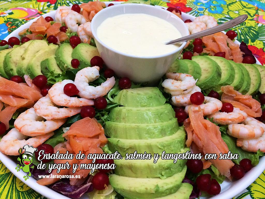 Ensalada De Aguacate Salmon Y Langostinos Con Salsa De Yogur Y Mayonesa La Rana Rosa