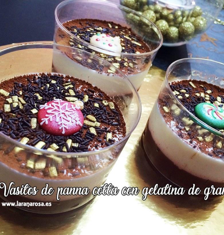 Vasitos de panna cotta con gelatina de granada