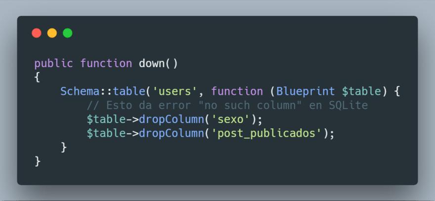 Error de columnas en SQLite