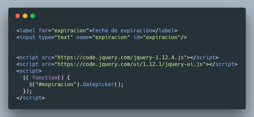 Blade con la inicialización del plugin jQuery DatePicker UI