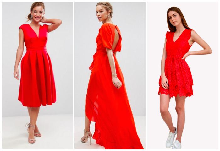 Robe,rouge,invitee,mariage,printemps