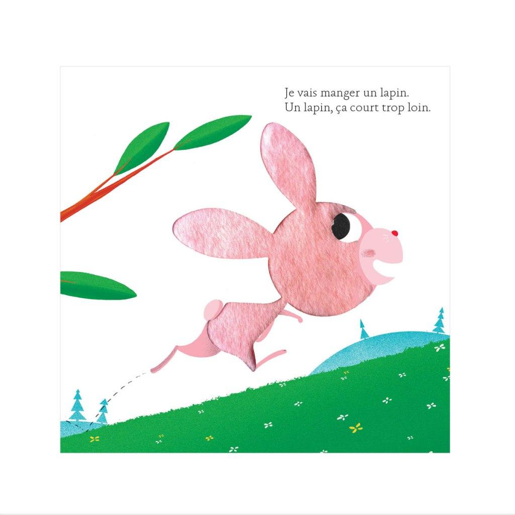 Livre dans lequel l'enfant peut toucher le pelage du lapin