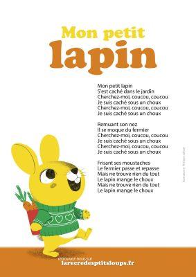 Mon petit lapin paroles de la comptine à télécharger gratuitement au format A4 en haute résolution pour les bébé et les écoles maternelles