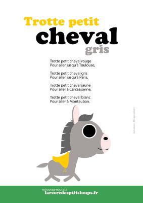 trotte petit cheval gris parles de la comptine à télécharger gratuitement au format A4 pour les classes de maternelle