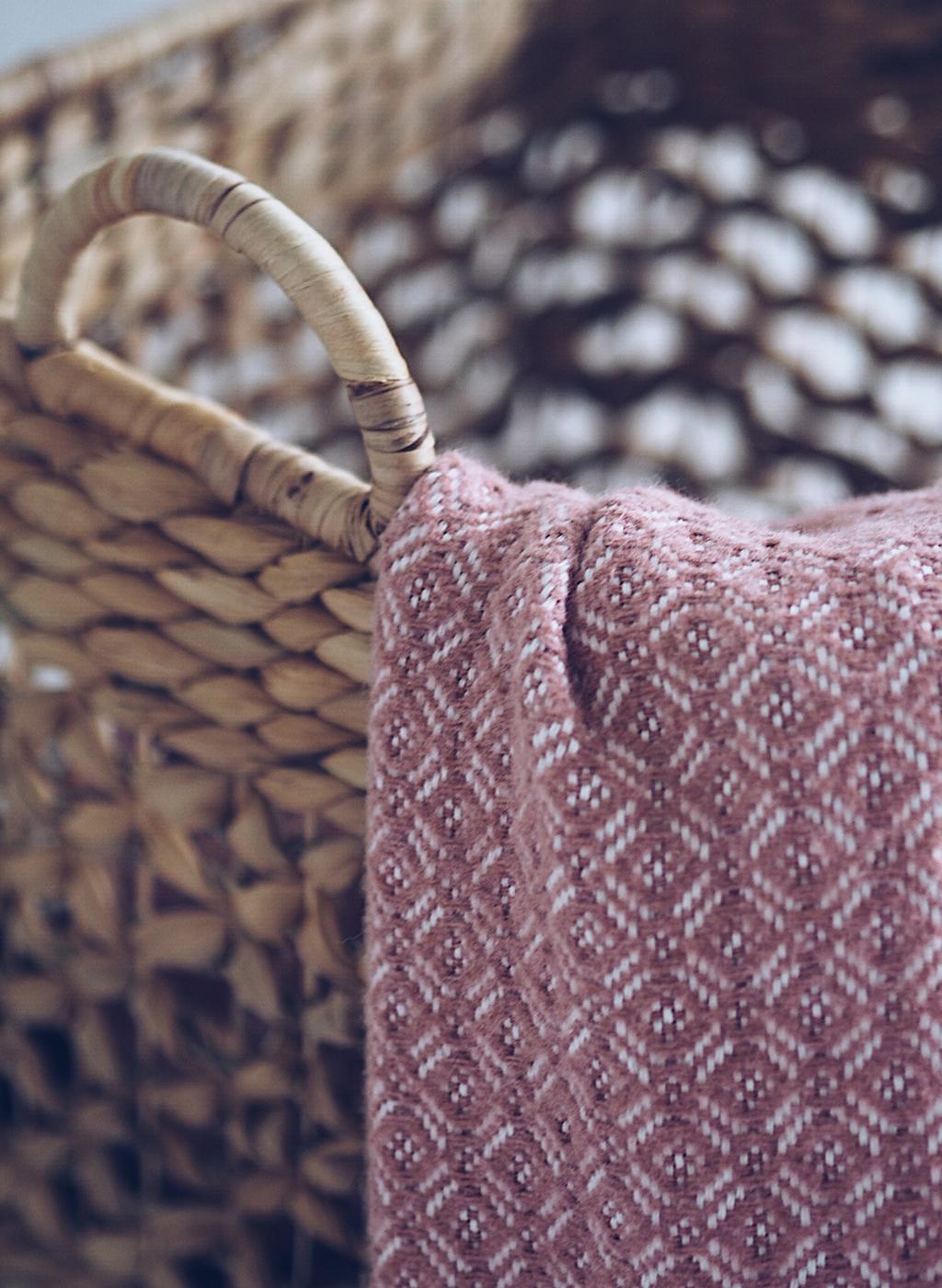 homesense blanket and wicker basket
