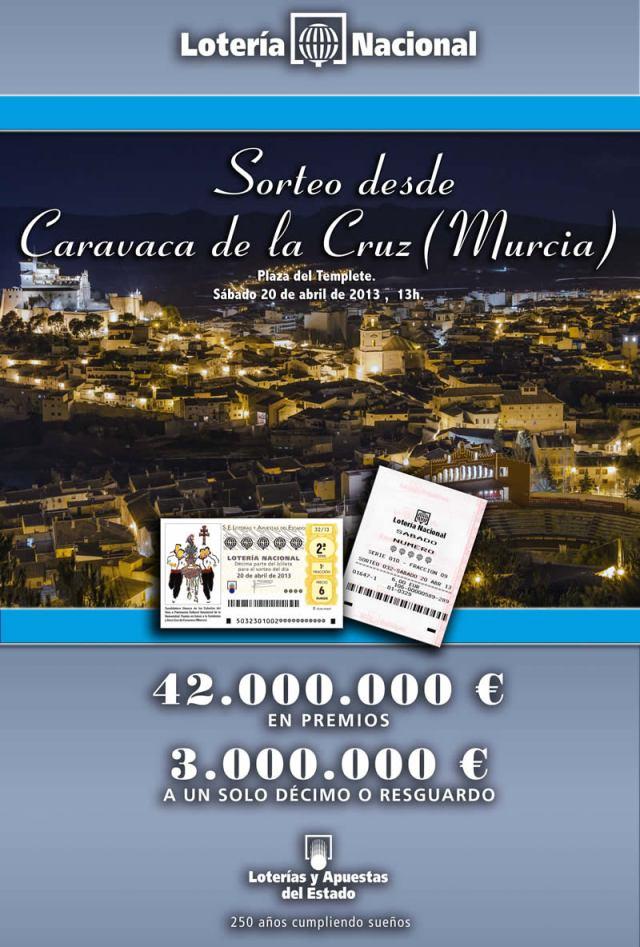 Cartel Sorteo Lotería Nacional desde Caravaca de la Cruz