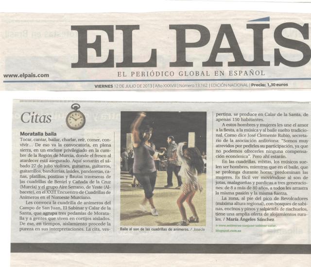 Recorte del periódico El País donde es recomendado este Encuentro como Cita obligada del verano 2013.