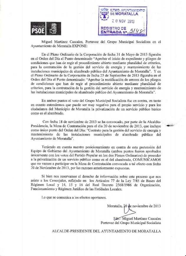 Escrito no la no privatización del alumbrado público de Moratalla, PSOE Moratalla
