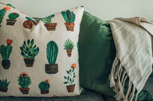 white green and brown throw pillow