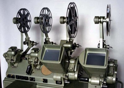 An original Moviola editing machine that allows a film editor to conveniently watch what is being edited.