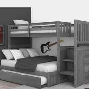 Omega IV Series 3 in 1 Bunk Bed with inbuilt (Storage Drawers) (100% HDF Finish)