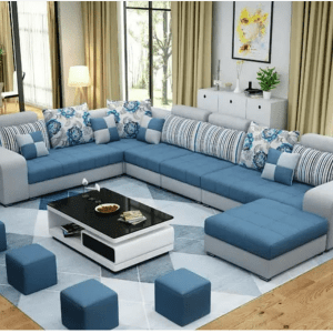 Access Series 10 sitter Sectional Sofa   4 Upholstered stools