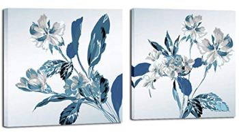 3Hdeko – Large Flower Pictures Wall Art Hand Painted Gray