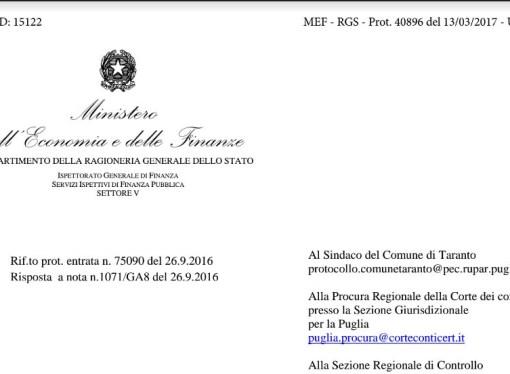 Il ministero delle Finanze boccia ancora il Comune di Taranto, ecco il nuovo dossier (pdf)