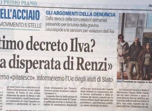 Ilva, D'Amato (M5S): Sequestro nella gravina Leucaspide conferma quanto scoperchiato da noi del 2015
