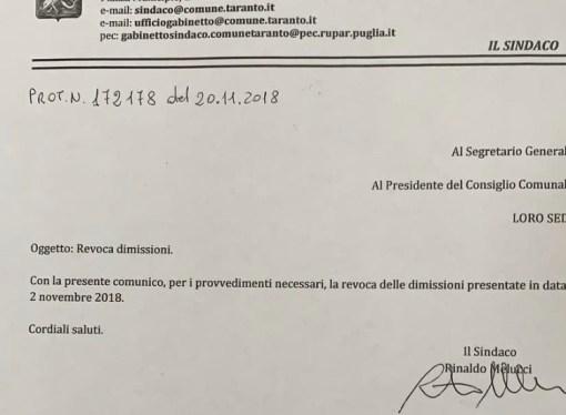 Melucci ritira le dimissioni