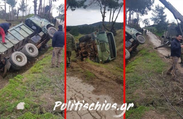 Στρατιωτικό όχημα αναποδογύρισε - Τραυματίστηκαν δυο στρατιωτικοί