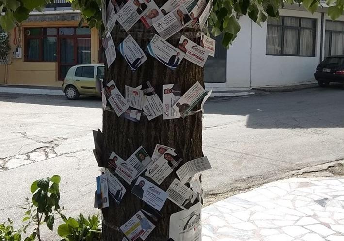 Το δέντρο των υποψηφίων σε χωριό της Λάρισας κάνει πάταγο (pics)