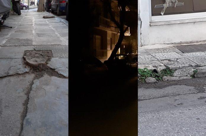 Σκοτάδι, σπασμένα πεζοδρόμια και δρόμοι γεμάτοι λακκούβες στην πόλη του…