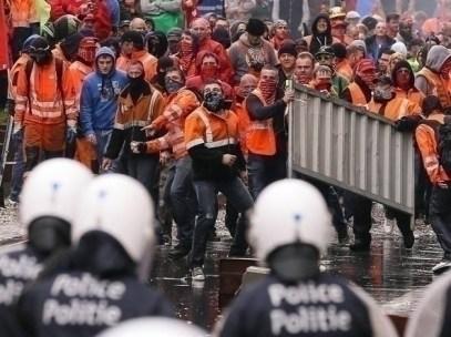 Scontri con la polizia al Parlamento europeo a Bruxelles 2014