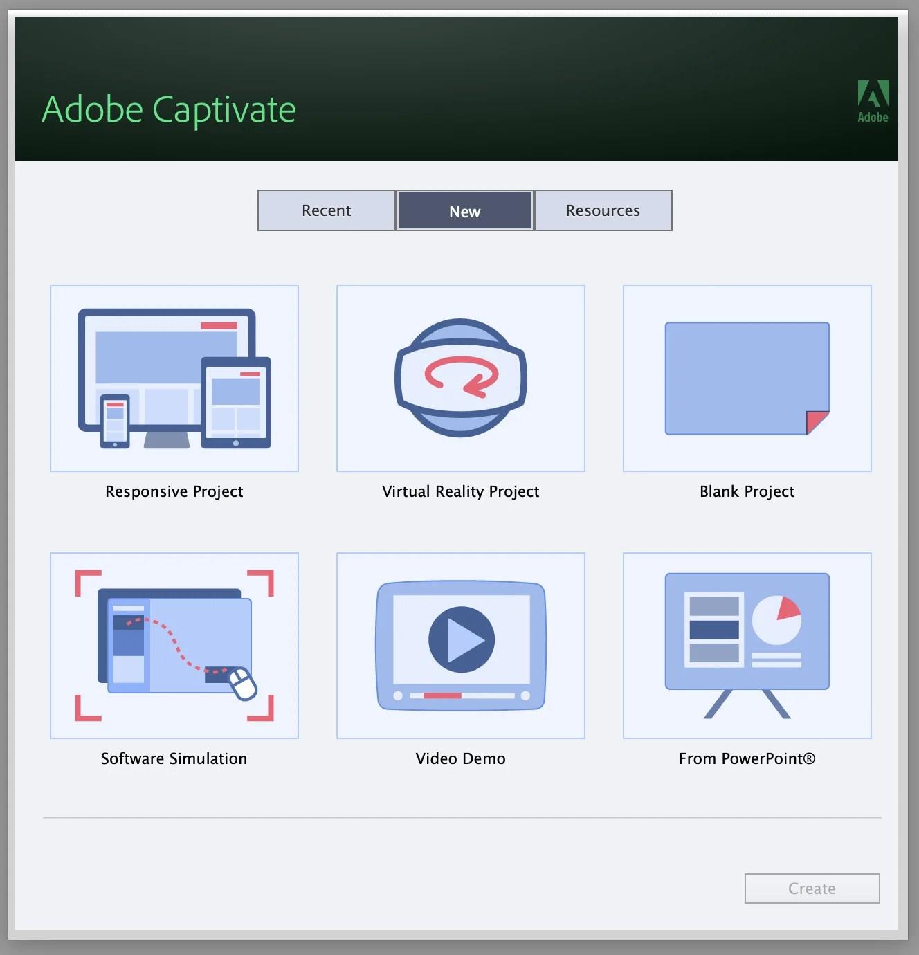 Adobe Captivate Project Menu