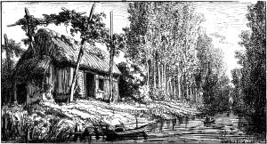 hutte dans le Marais, le long de la Sèvre niortaise. © Octave de Rochebrune