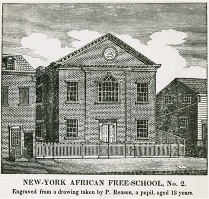 EIRNS/Christopher Lewis  wikipedia commons This New York African Free School has its origins in the New York Manumission Society established by Alexander Hamilton and John Jay (among others), back in the 1780s. This is a lithograph of the second school, done in 1922, after an 1830 engraving from a drawing by student Patrick H. Reason.