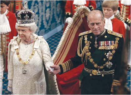 Queen Elizabeth and Royal Consort Prince Philip on an October 2008 visit to the Slovak Republic..