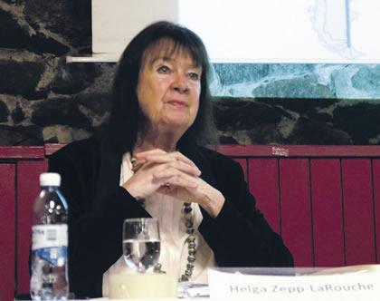 EIRNS Helga Zepp-LaRouche at the Stockholm event.