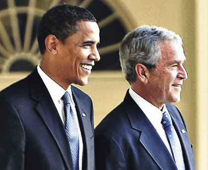 Wikimedia Commons Barack Obama and George W. Bush.