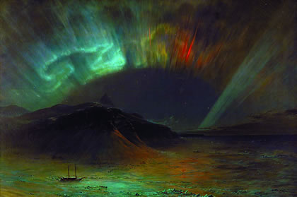 """Recent investigations bearing on the role of cosmic radiation """"permeating what is never, and nowhere a part of 'empty space,' now depend on deeper insight into the conclusive quality and forward-looking implications of the apparent qualitative divisions, and interrelations among the Lithosphere, Biosphere, and Noösphere,"""" within our galaxy. Shown: """"Aurora Borealis,"""" by Frederic Edwin Church, 1865."""