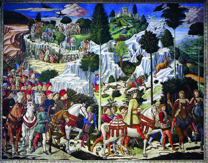 "The 15th-Century ""Golden Renaissance"" revived European civilization following the 14th-Century ""New Dark Age."" Shown: ""The Journey of the Magi,"" by Benozzo Gozzoli, 1459-61, a metaphor for the visit by leading scholars, statesmen, and intellectuals, to the Council of Florence (1439)."