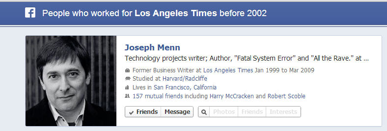 One of many former colleagues who worked at the LA Times before 2002
