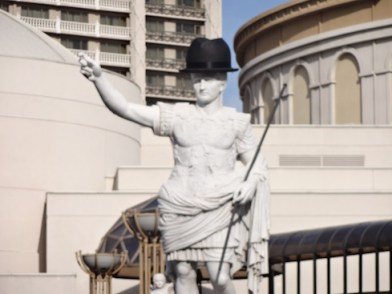 Statue at Caesar's Palace gets into the Black Hat spirit (photo by Larry Magid)