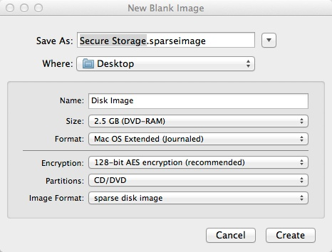 Sparse-Image Sparse Image:  A Secure Disk Image For Your Mac How To OS X OS X Security Tips