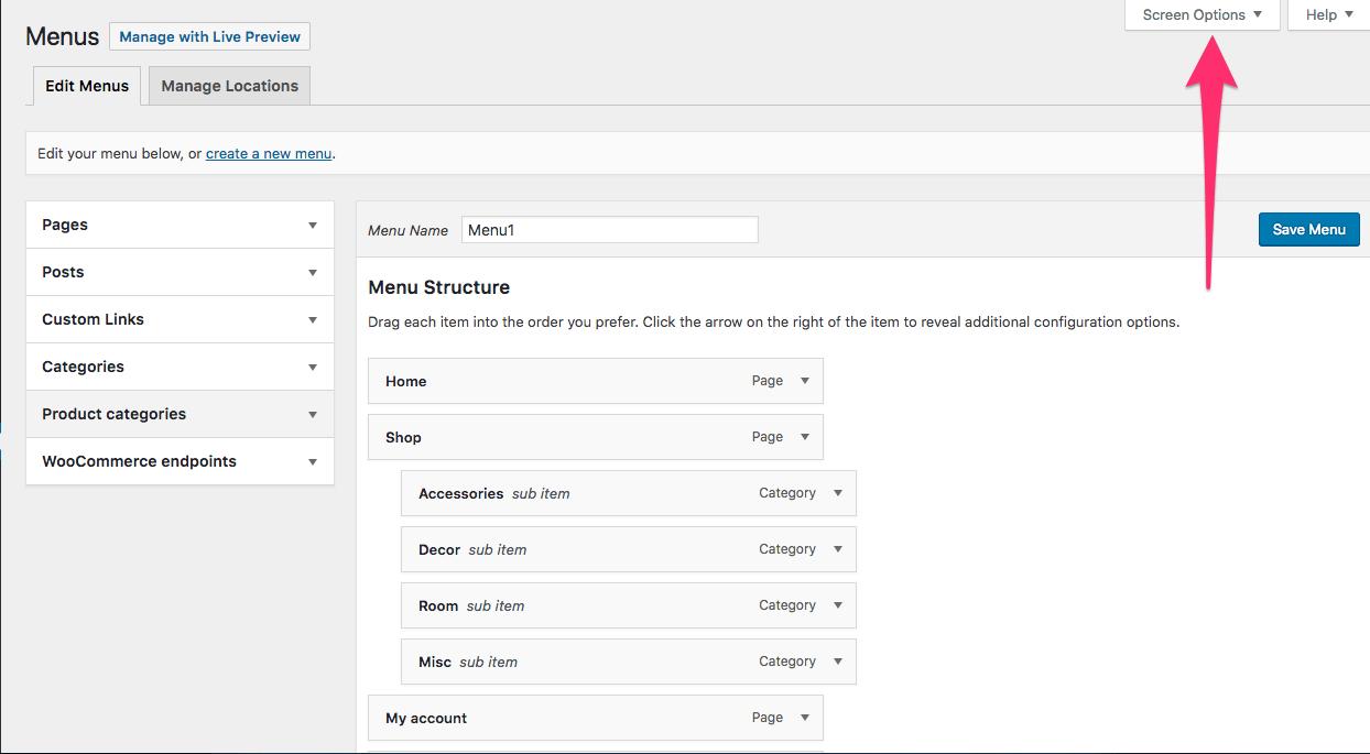 Menu Screen  Fix WooCommerce Missing Product Categories