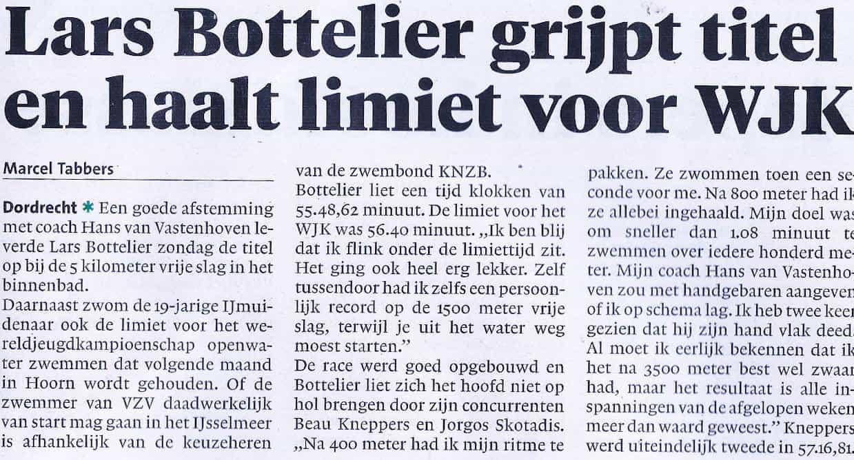 krantenknipsel NK5000m Lars Bottelier