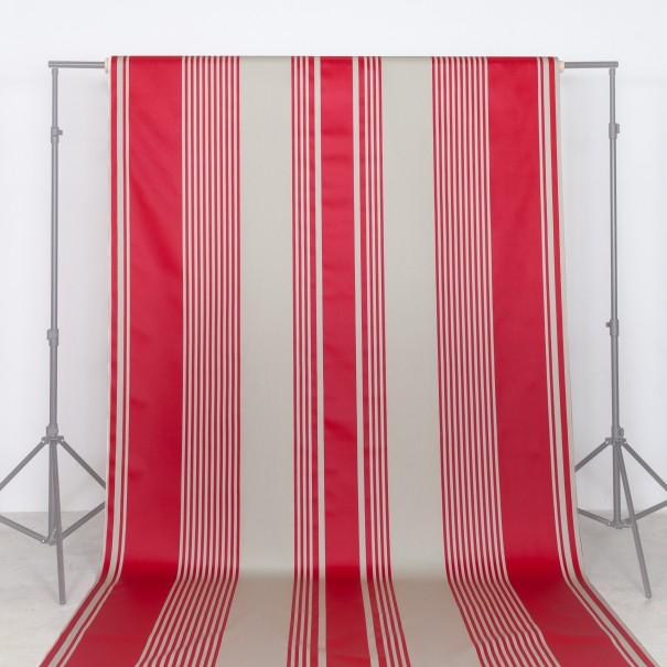 tissu au metre grand largeur basque txomin rayure rouge coton lin