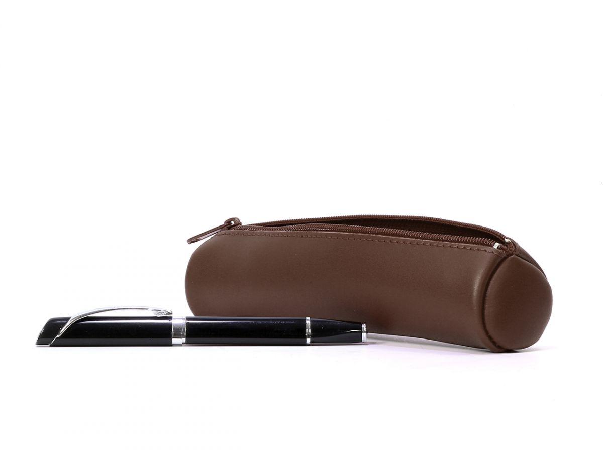 Trousse Crayons Cuir Marron Petite Maroquinerie