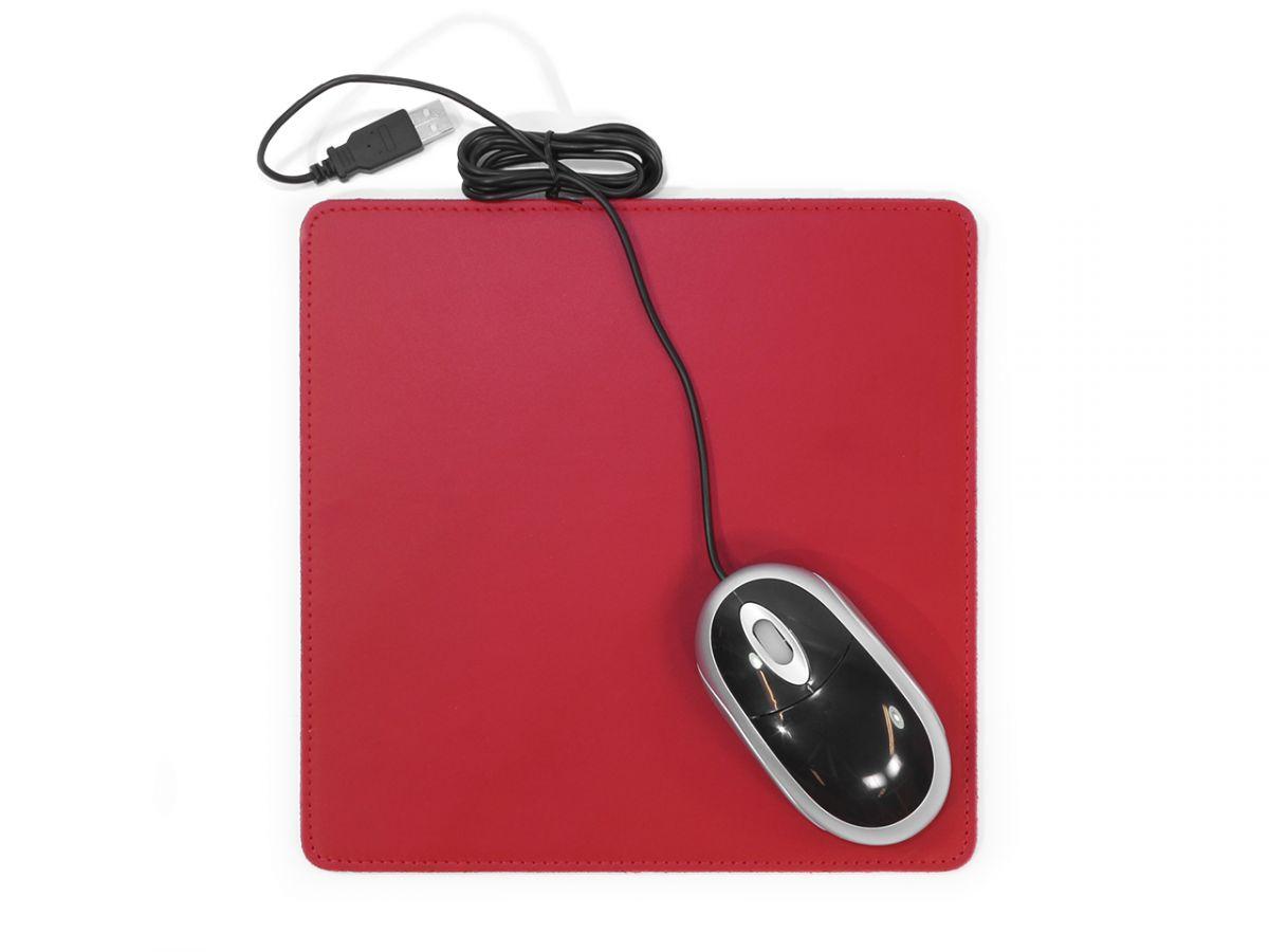 tapis souris en cuir rouge coquelicot